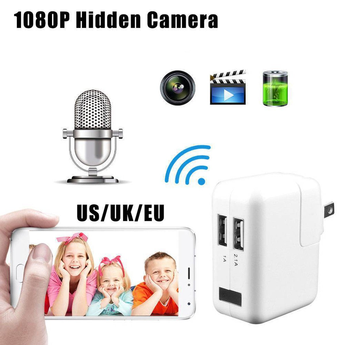 Spy Camera USB Charger Video Plug 1920x1080p front view