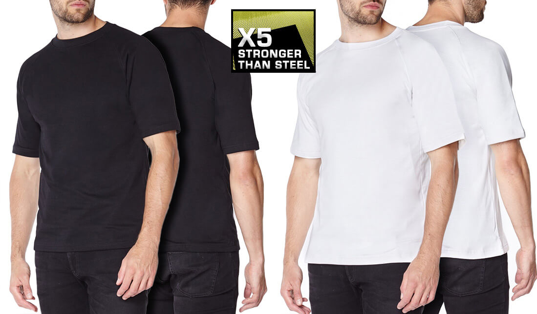 Titan Depot Black White Short Sleeved T-shirts Lined with Anti-Slash KEVLAR® Protection all colours