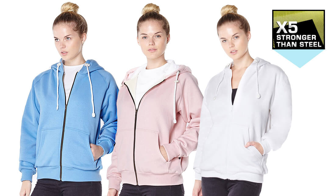 Ladies Anti-Slash Hooded Top Lined with Dupont ™ Kevlar ® Fibre all colours