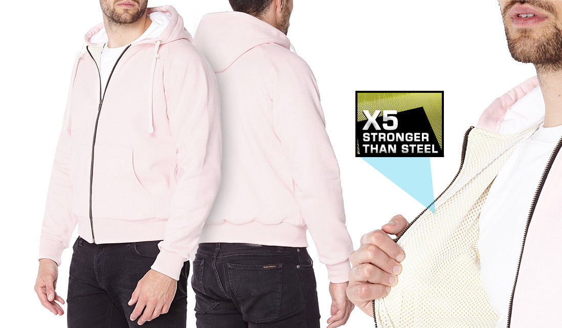 Pink Anti-Slash Hooded Top Lined With Dupont™ Kevlar® Protection showcase