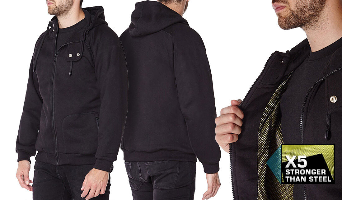 Black Anti-Slash Hooded Top Lined With Dupont™ Kevlar® Lining show case