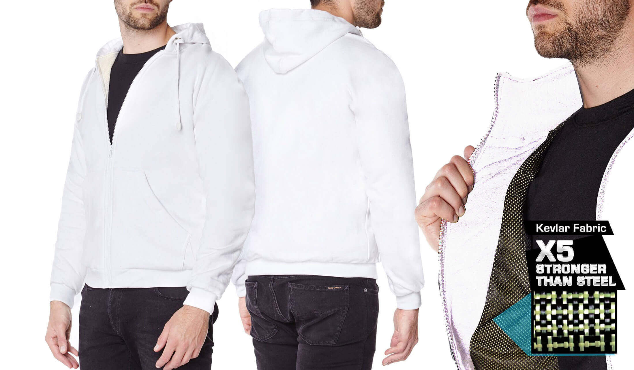 Titan Depot White Anti-Slash Hooded Top With Dupont™ Kevlar® Fibre different colours