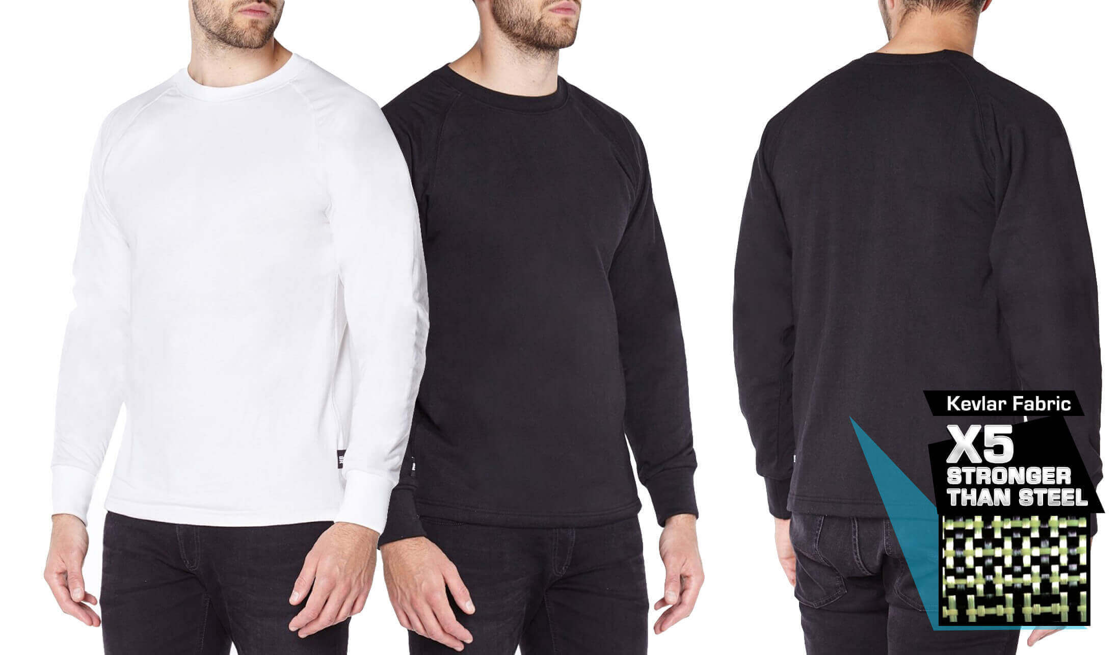 Titan Depot Long sleeved T-shirts lined with Anti-Slash DUPONT ™ KEVLAR ® FIBRE colour diagram