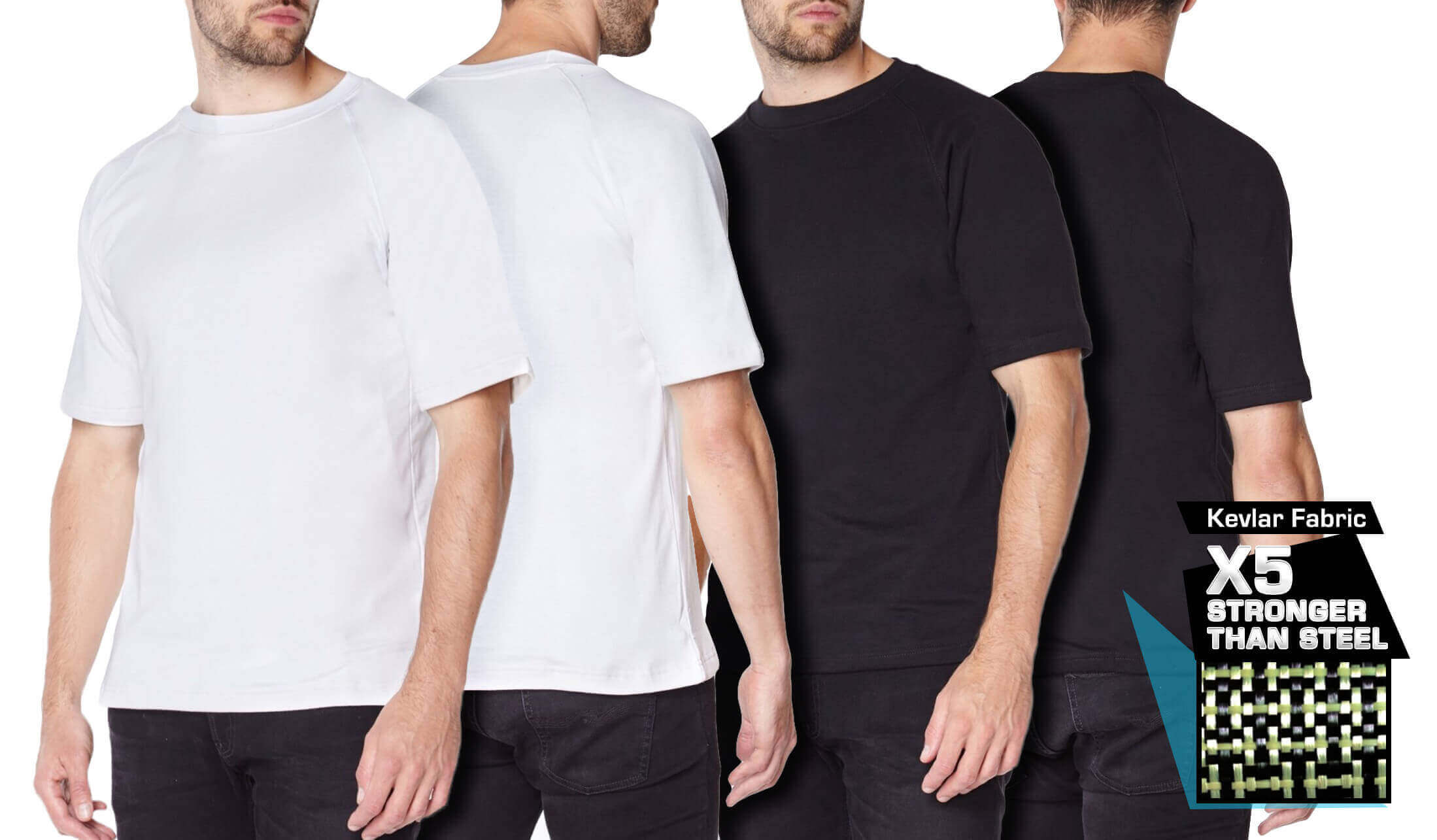 Titan Depot white Short Sleeved T-shirts Lined with Anti-Slash KEVLAR® Protection all colours