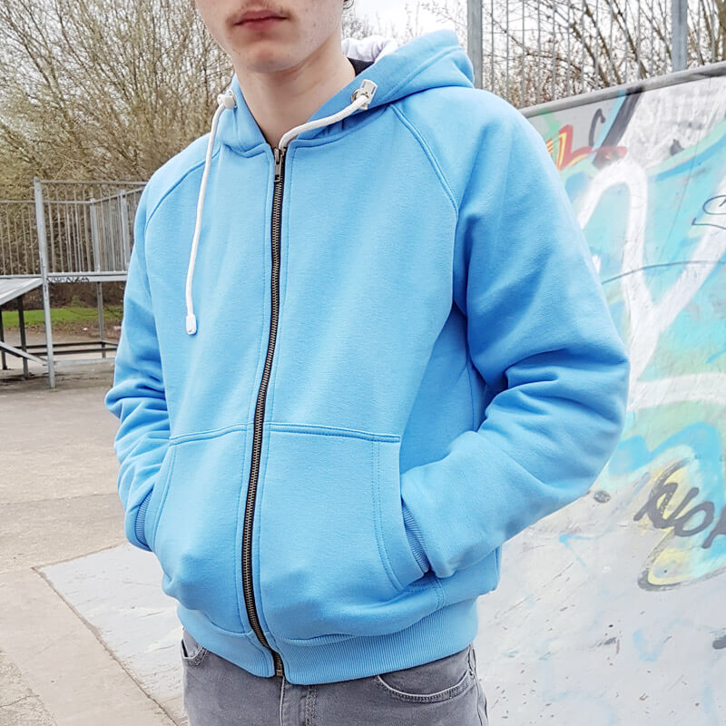 Juniors Knife Resistant Anti Slash Hooded Top in Blue