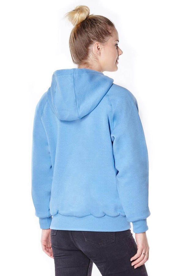 Titan Depot Ladies Blue Anti-Slash Hooded Top Lined With Dupont Kevlar Fibre back view