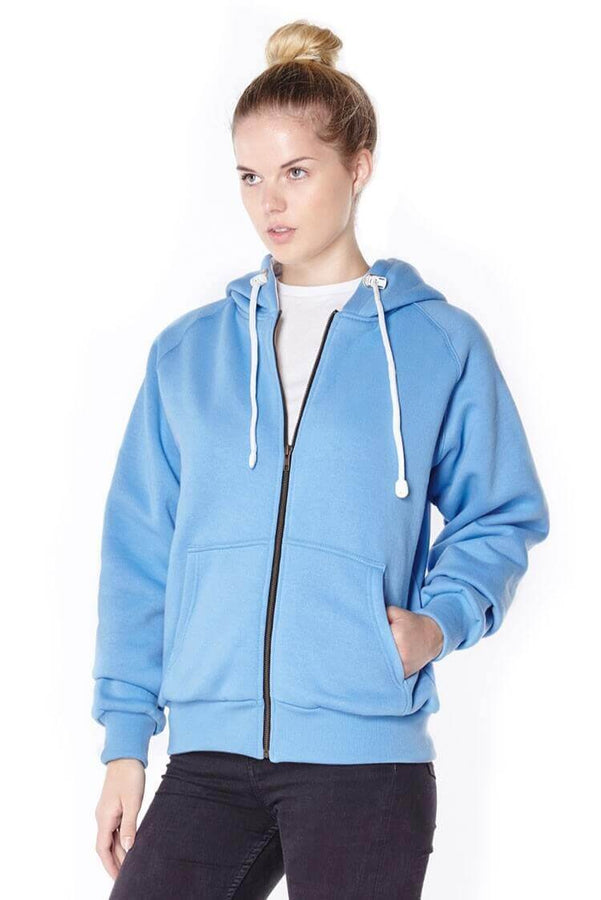 Titan Depot Ladies Blue Anti-Slash Hooded Top Lined With Dupont Kevlar Fibre front view