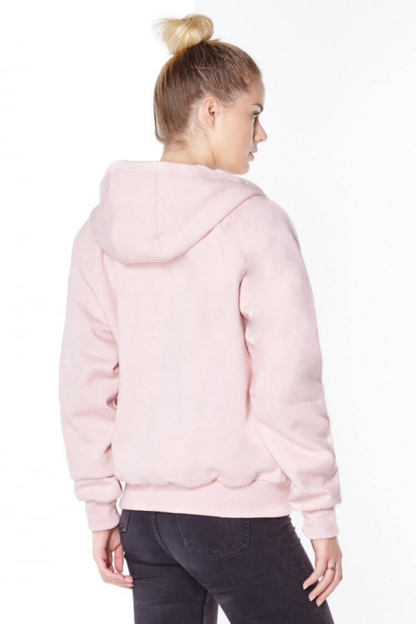 Ladies Pink Anti-Slash Hooded Top Lined with Dupont ™ Kevlar ® Fibre back view