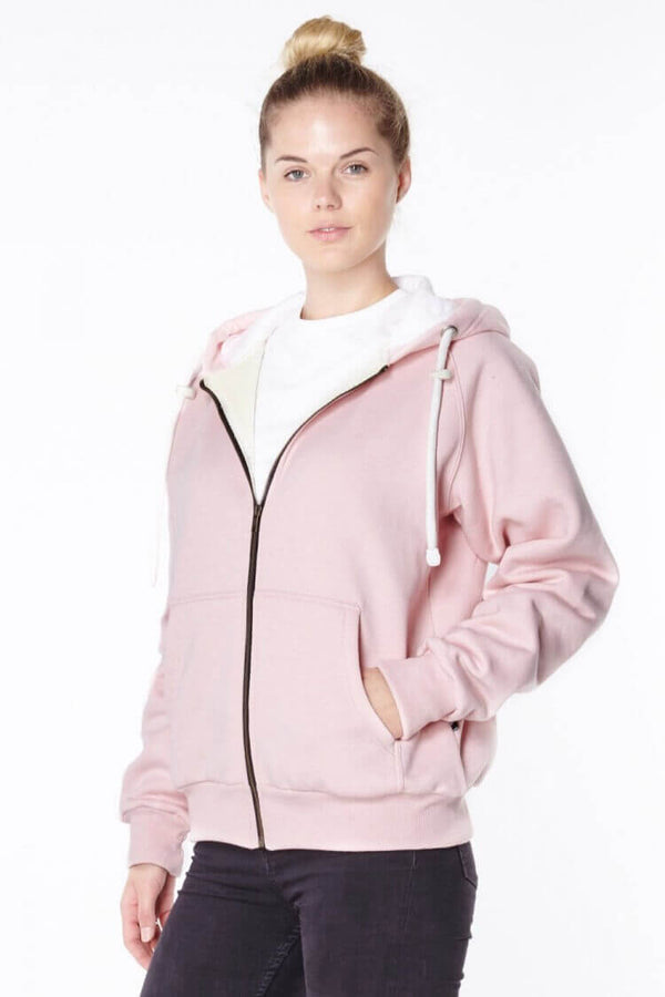 Ladies Pink Anti-Slash Hooded Top Lined with Dupont ™ Kevlar ® Fibre front view