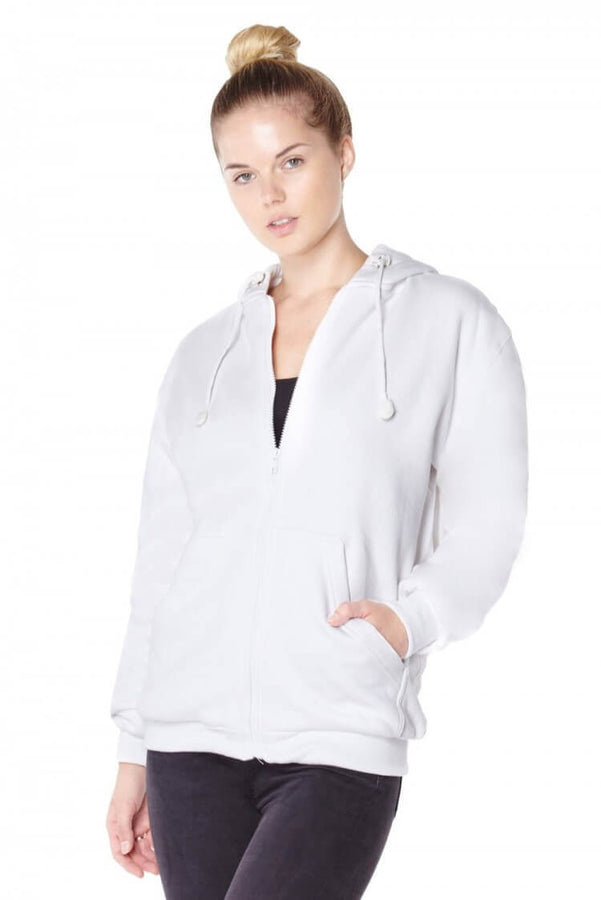 Titan Depot Ladies White Anti-Slash Hooded Top Lined With Dupont ™ Kevlar ® Fibre front view