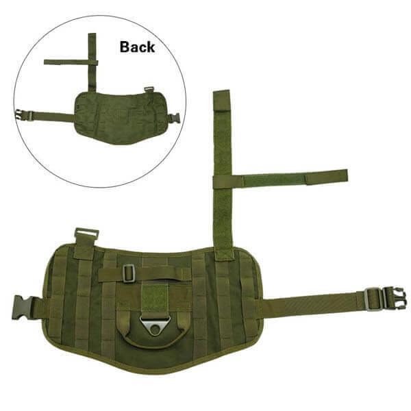Titan Depot Dog Tactical Training Harness With Detachable Molle Pouch flat out