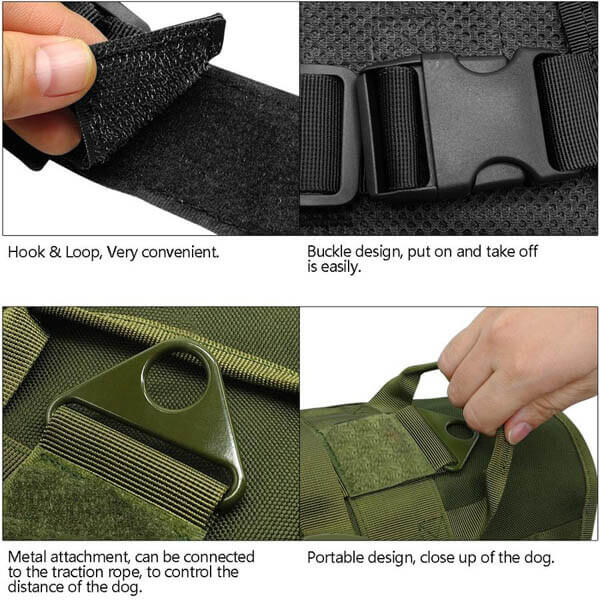 Titan Depot Dog Tactical Training Harness With Detachable Molle Pouch features