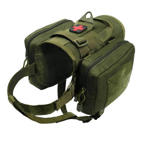 Titan Depot Dog Tactical Training Harness With Detachable Molle Pouch green