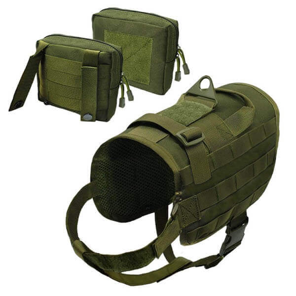 Titan Depot Dog Tactical Training Harness With Detachable Molle Pouch green separate items