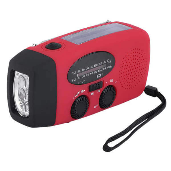 Emergency Radio with Solar Power Hand Crank Self Power Functionality