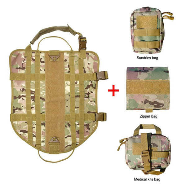 Titan Depot Tactical Dog Training Molle Vest Harness camo flat pack