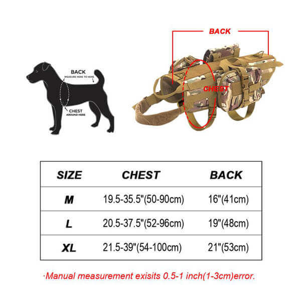Titan Depot Tactical Dog Training Molle Vest Harness size diagram