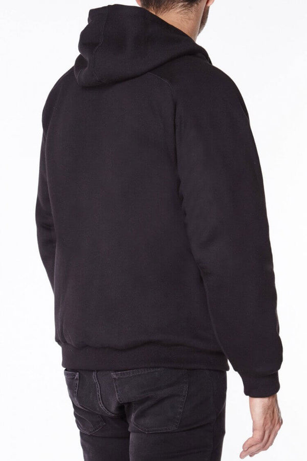 Knife Resistant Anti Slash Hooded Top in Black Blade Cut Protection back view