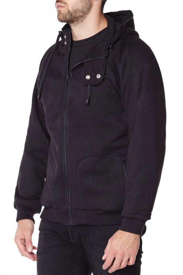 Titan Depot Knife Resistant Anti Slash Hooded Top in Black Blade Cut Protection front view