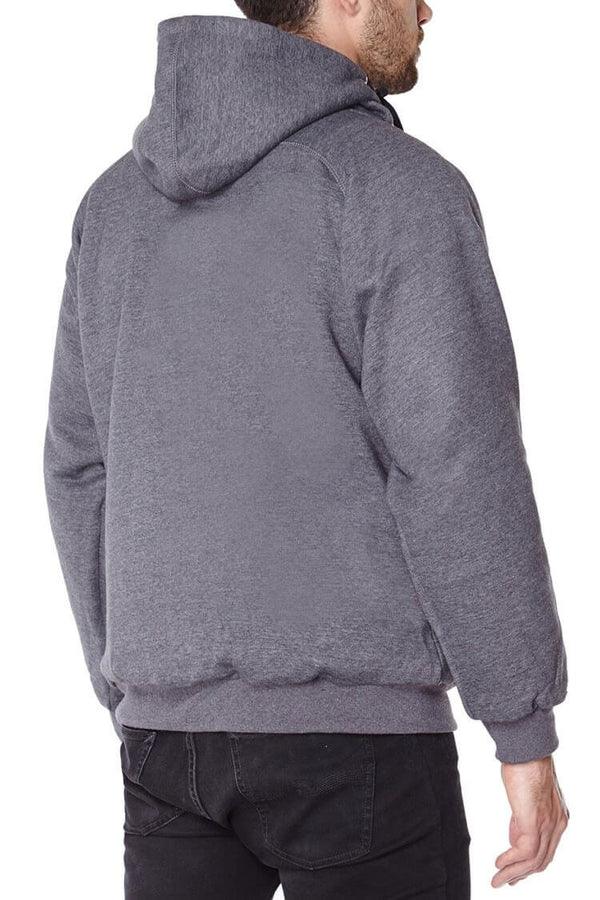 Titan Depot GREY ANTI-SLASH HOODED TOP LINED WITH DUPONT KEVLAR FIBRE back view
