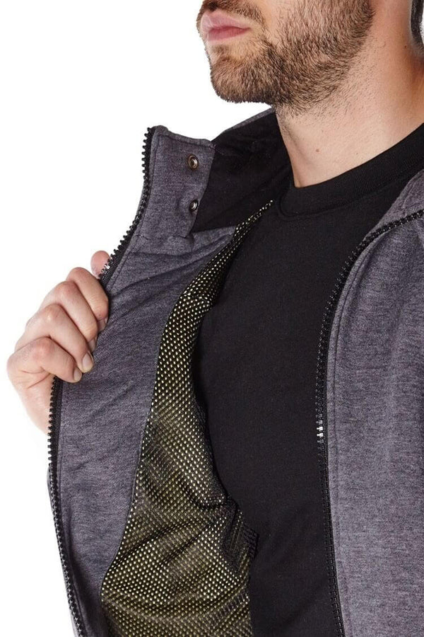 Titan Depot GREY ANTI-SLASH HOODED TOP LINED WITH DUPONT KEVLAR FIBRE inside Kevlar Lining