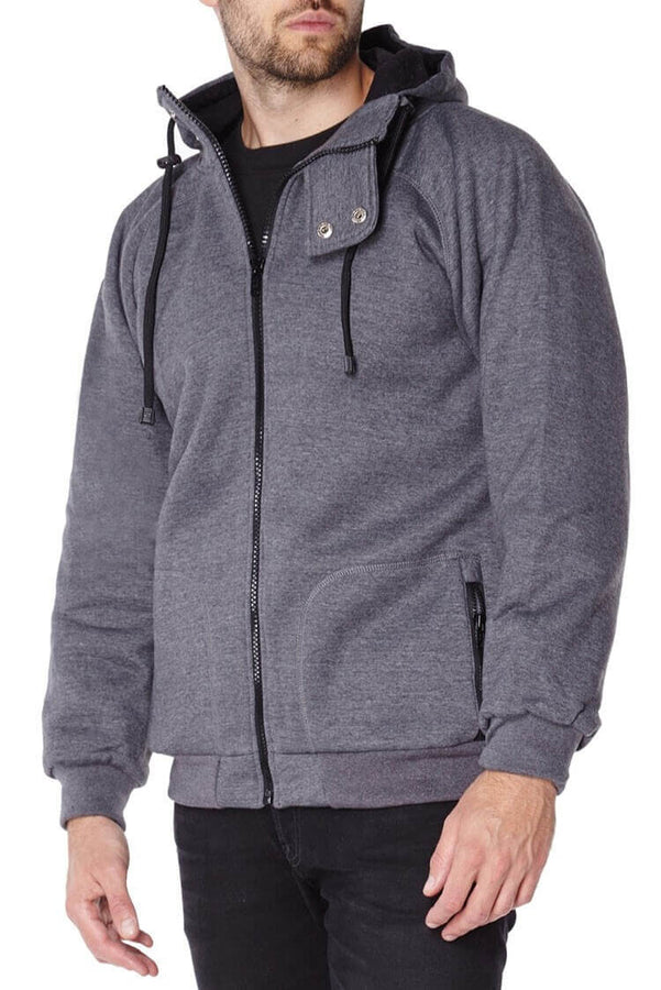 Titan Depot GREY ANTI-SLASH HOODED TOP LINED WITH DUPONT KEVLAR FIBRE front view