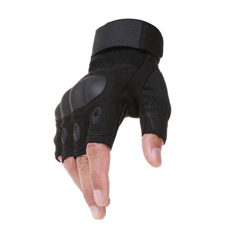 Tactical Gloves With Hard Rubber Knuckle Half Black