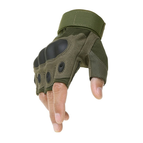 Tactical Gloves With Hard Rubber Knuckle Half Green