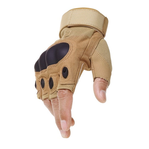Tactical Gloves With Hard Rubber Knuckle Half Yellow
