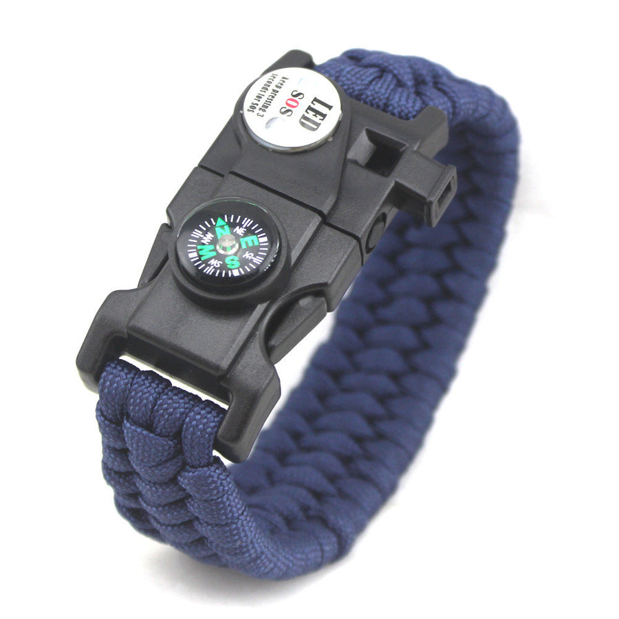 Survival Bracelet With Compass Fire Starter and Emergency Whistle