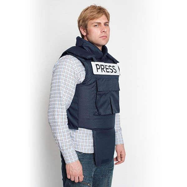 titan depot BULLET PROOF PRESS JACKET WITH NECK & GROIN PROTECTION 3d front view