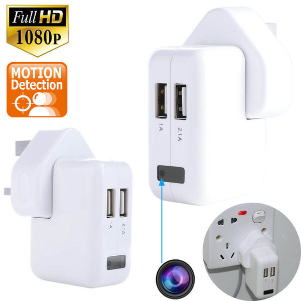USB Charger Plug Video Spy Camera 1920x1080p