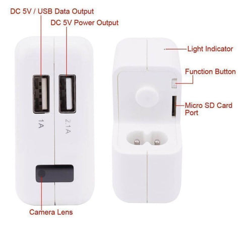 Spy Camera USB Charger Video Plug 1920x1080p front