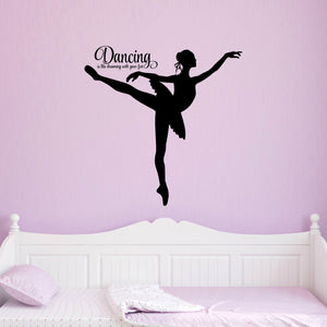 Dancing Ballerina with Inspirational Quote for Girls - Ballet Wall Decal
