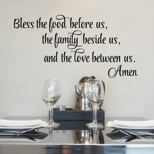Bless the Food Before Us Wall Decal - Dinner Prayer