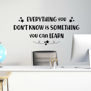 Everything You Don't Know Is Something You Can Learn Wall Quote Decal