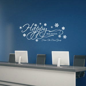Personalized Happy Holidays Wall Decal Christmas Wall Decor