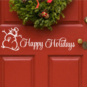Christmas Door Decal Vinyl Happy Holiday Front Door Removable Sticker
