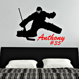 hockey goalie personalized vinyl wall decal