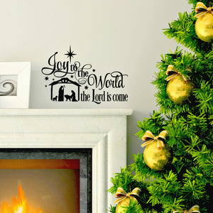 Joy to the World with Nativity Scene Christmas Vinyl Letting Wall Decal