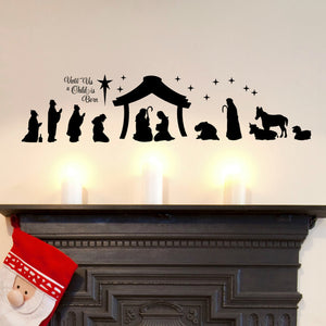 Christmas Nativity Scene Silhouette Wall Decal Sticker Vinyl