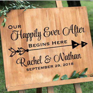 Happily Ever After wedding decal on Board with Easel