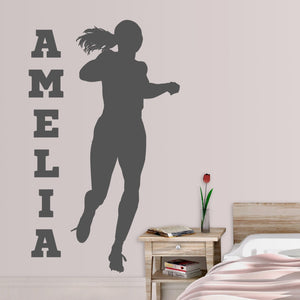 Personalized Female Runner Sports Vinyl Decal for Wall