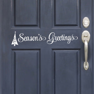 Vinyl Season's Greetings Front Door Removable Sticker Door Decal