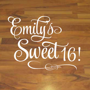 Personalized Sweet 16 Party Floor and Wall Decal Sticker