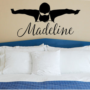 Custom Female Swimmer Vinyl Wall Sticker Removable Decal