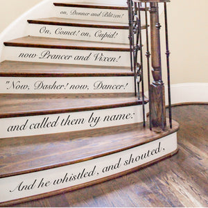 Twas the Night Before Christmas Vinyl Stair Riser Decal Strips Removable