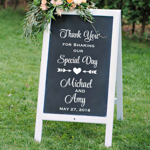 thank you white vinyl wedding sign for wedding