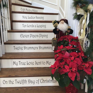 12 Days of Christmas Stair Riser Vinyl Decals Stickers