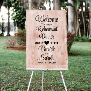 Personalized Rehearsal Dinner Wedding Sign Decal